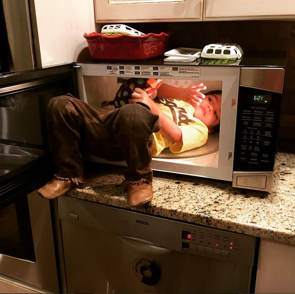 When your kid climbs in the microwave
