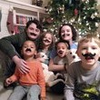 Christmas kids family mustaches