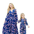 These Floral Print Long-Sleeved Swing Maxi Dresses