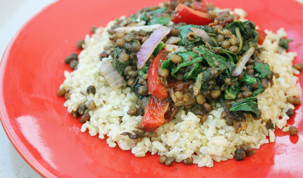 Throw Together Balsamic Lentil Sautee